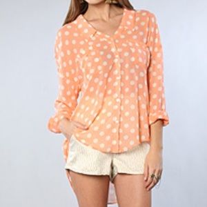 Free People Polka Dot Easy Rider Button Down Top